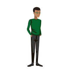 cartoon guy student standing in casual clothes vector image