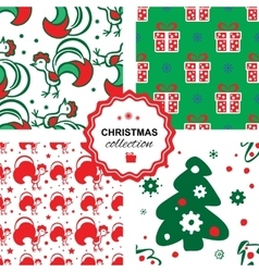 Christmas background with a rooster seamless vector