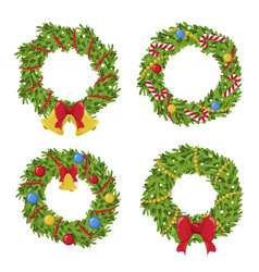 christmas green wreath holiday decoration vector image