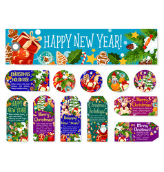 Christmas new year wish greeting tags vector