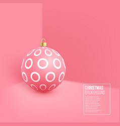 christmas pink bauble with geometric pattern 3d vector image