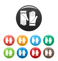 cleaning gloves icons set color vector image
