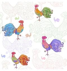 cockerel pattern vector image vector image