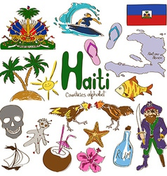 Collection haiti icons vector