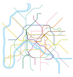 Colored metro map paris vector