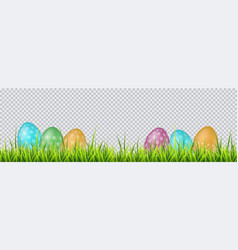 colorful easter eggs on a grass on transparent vector image