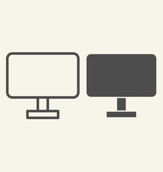 Computer monitor line and glyph icon pc screen vector
