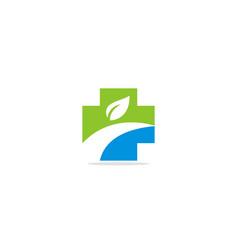 cross medic eco leaf logo vector image