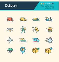 delivery icons filled outline design collection vector image