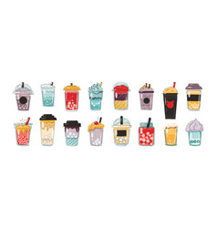 Doodle bubble drink beverages in plastic cups and vector