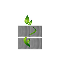 eco window logo with thin line house concept of vector image