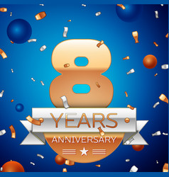 Eight years anniversary celebration design vector