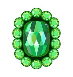 Emerald brooch vector