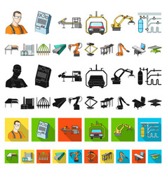 equipment and machine cartoon icons in set vector image