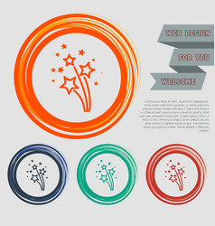 Firework icon on the red blue green orange vector