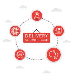 flat line icon concept delivery service vector image