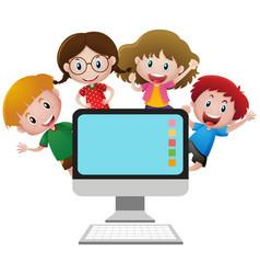 Four happy children behind computer screen vector