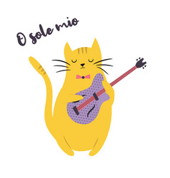 funny cat playing guitar vector image