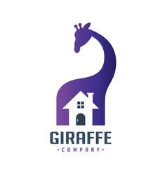 giraffe animal house logo design vector image