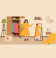 girl tries dress woman shopping female at home vector image