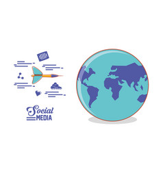 globe world with dart and social media set icons vector image