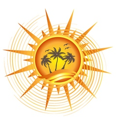 Gold tropical sun logo vector