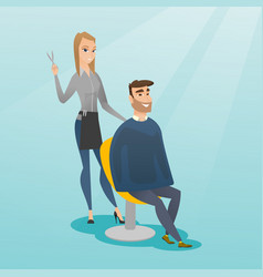 hairdresser making haircut to hipster man vector image