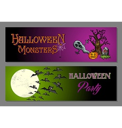 halloween happy party web banners set vector image
