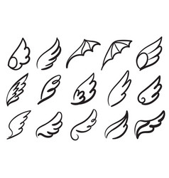 Hand drawn angel wings sketch feather bird line vector