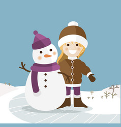 happy girl with her snowman on a sunny winter day vector image