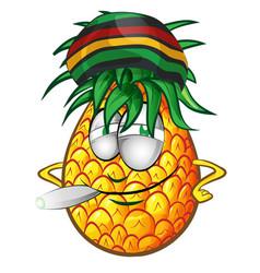 Happy jamaican pineapple character cartoon vector