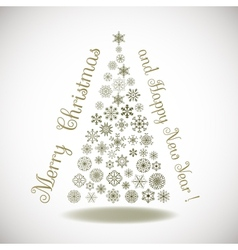 Happy New Year composition tree of snowflakes with vector image