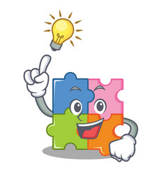 Have an idea puzzle mascot cartoon style vector
