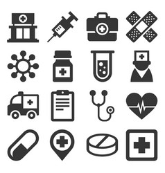 Health medic icons set on white background vector
