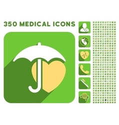 Heart umbrella protection icon and medical vector
