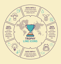 Infographic template of trophy design vector