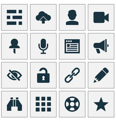 interface icons set with video edit user and vector image