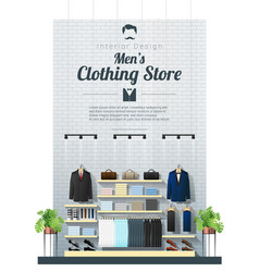 Interior background of modern men clothing store vector