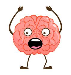 Isolated shocked brain character cartoon mascot vector