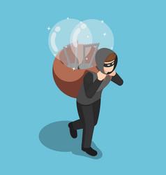 Isometric thief stolen light bulb of idea vector