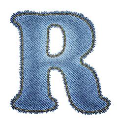 Jeans alphabet denim letter r vector