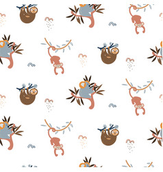 jungle animals fun cute seamless pattern vector image