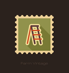 Ladder stepladder stair retro flat stamp vector