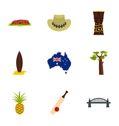 Landmarks of australia icon set flat style vector