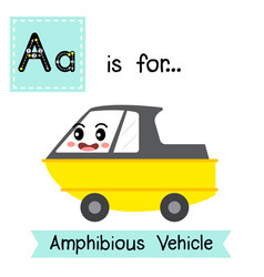 Letter a tracing amphibious vehicleeps vector