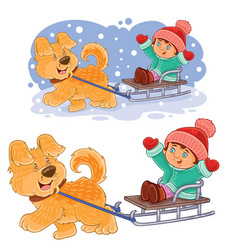 Little girl sitting in a sleigh who is vector