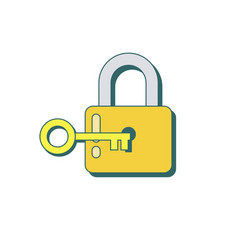 lock and key icon in flat style vector image