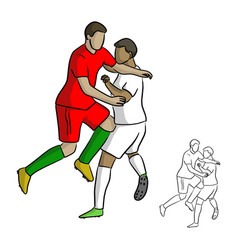 male soccer players attack each other in the game vector image