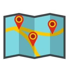 Map with pointer icon flat style vector image