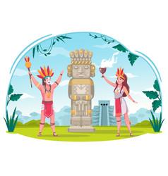 Maya civilization cartoon concept vector